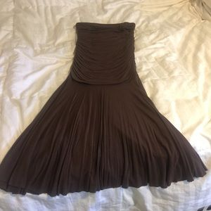 Dark Brown Strapless T-shirt material Dress